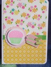 "Biglietto ""happy birthday"" cupcake + tag farfallina"