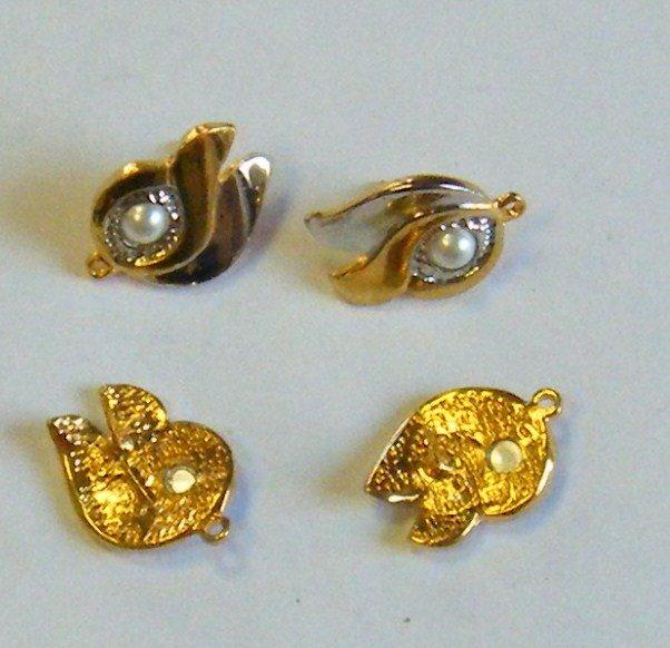 perno, base per orecchini,  in metallo colore oro e argento e perla ,grandi  23  x 18 mm
