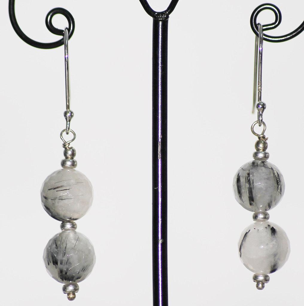 Orecchini in argento italiano 925 ed agata striata grigia