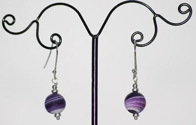 Orecchini in argento 925 e agata striata viola