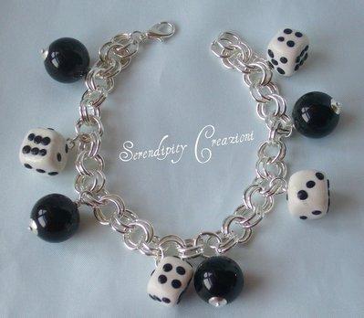 Bracciale Bianco e Nero, Dadi, braccialetto realizzato in fimo