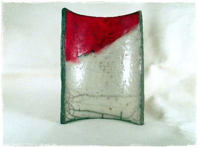 Portasapone ceramica Raku Bianco e rosso