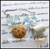Orecchini Biscotto Cookie con smarties e tazza di latte