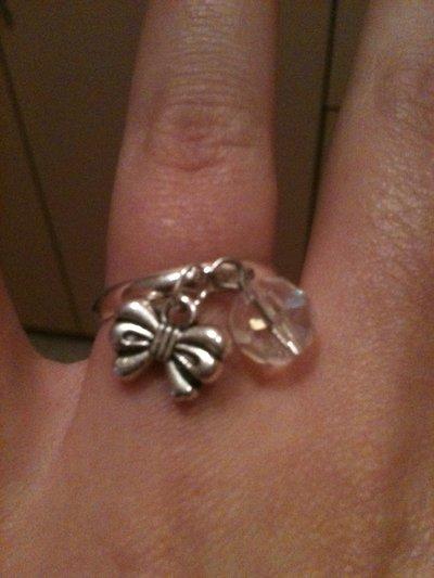anello con fiocco e mezzo cristallo crystal