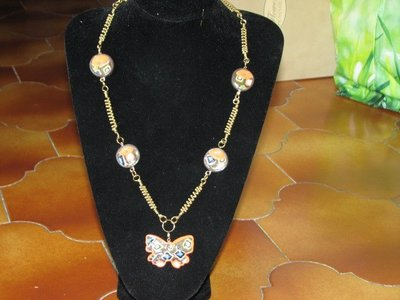 collana farfalla arancione fimo
