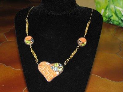collana cuore arancione fimo