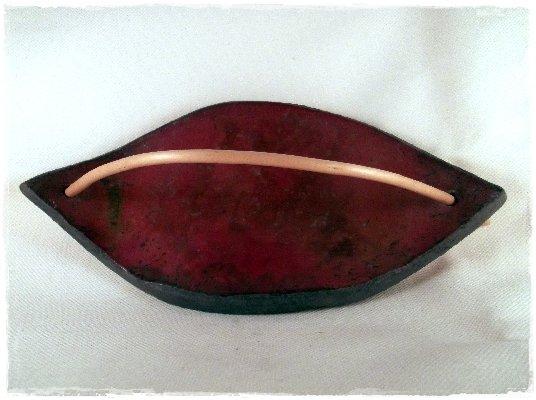 Vassoio raku rame foglia realizzato a mano