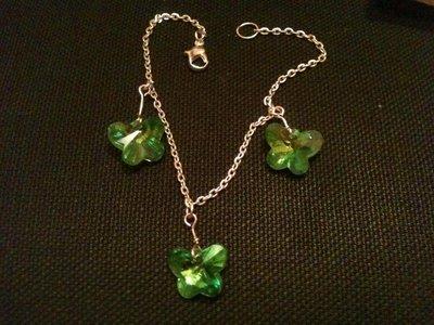 Bracciale con farfalle in vetro verde