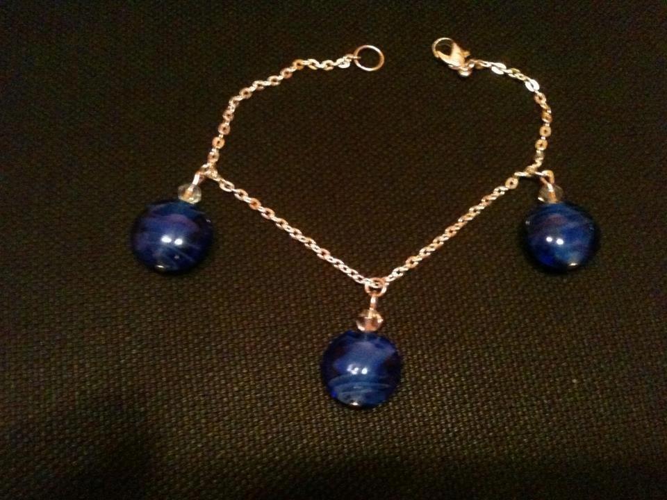 Bracciale con perle lampwork blu