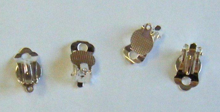 coppia base per orecchini a clips in metallo colore argento