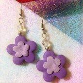 Orecchini fiore lilla/viola