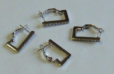 base per orecchini in metallo colore argento