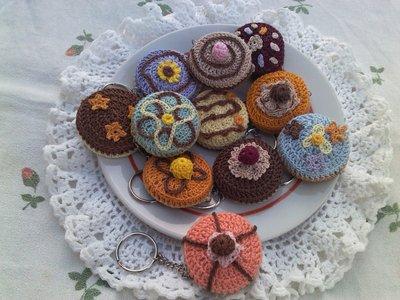 Portachiavi biscottino ad uncinetto in cotone