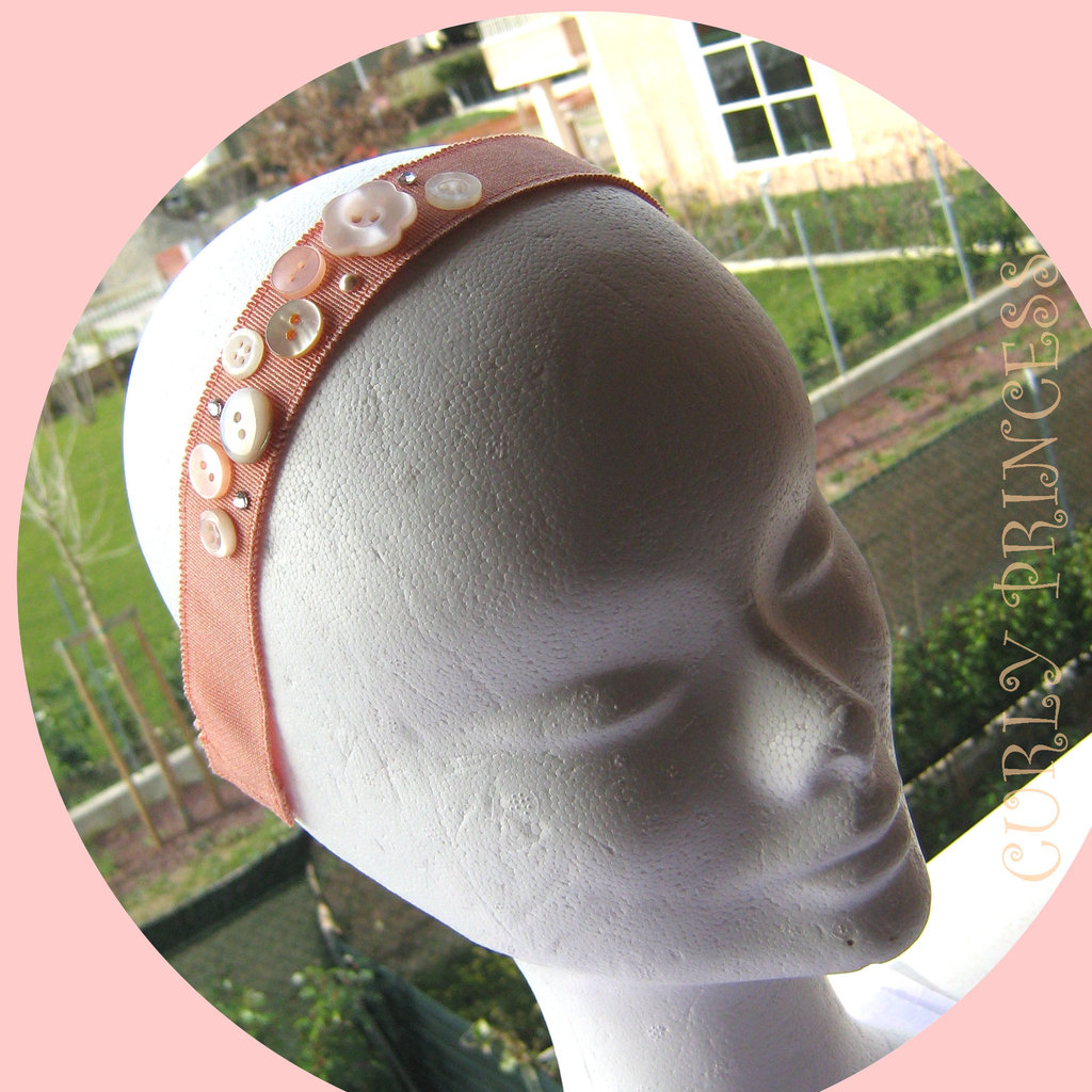 fascia per capelli con bottoni applique pesca HEADBAND