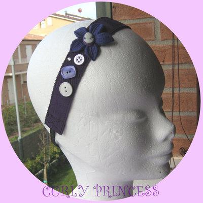 fascia per capelli con bottoni cameo fiore viola HEADBAND
