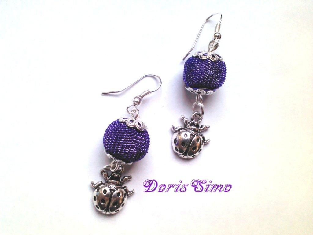 orecchini coccinella in viola