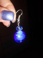 orecchini lampwork blu