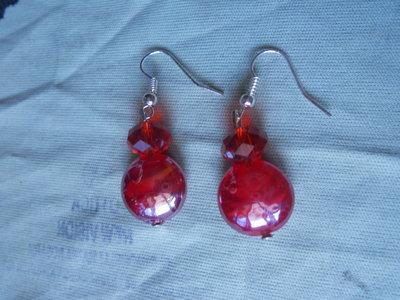 orecchini lampwork rosso