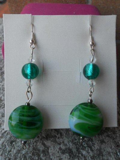 orecchini lampwork lunghi verdi