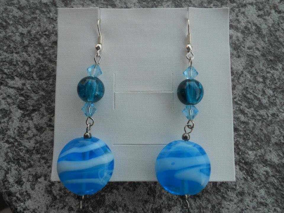 orecchini lampwork lunghi azzurri