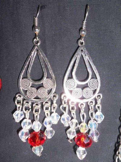 orecchini chandelier crystal-rosso