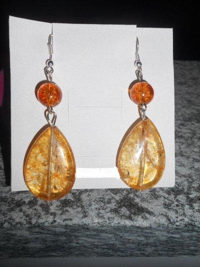 orecchini a goccia color ambra