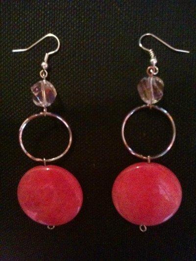 orecchini lunghi in pietra rosa