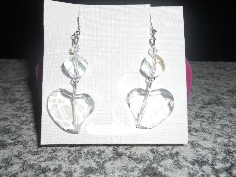 orecchini lunghi con cuori crystal