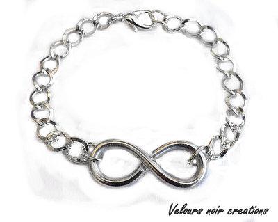 Bracciale simbolo INFINITO wire creato a mano catena argentata unisex uomo donna