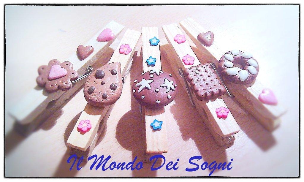 kit 5 mollette legno chiudi sacchetto You clay+SCATOLINA REGALO!