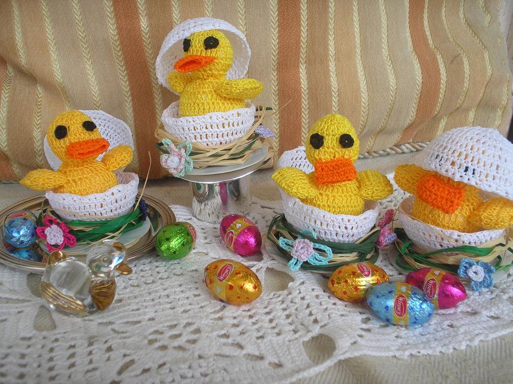 Pulcino e uovo ad uncinetto
