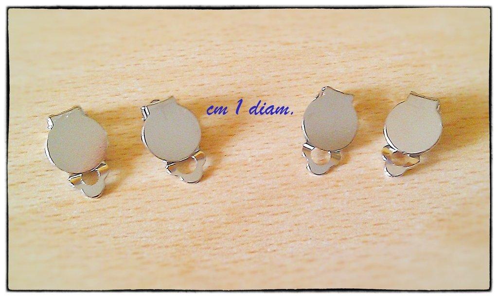 LOTTO 2 Paia di ganci orecchini a clip piastra tono argento 1cm STOCK