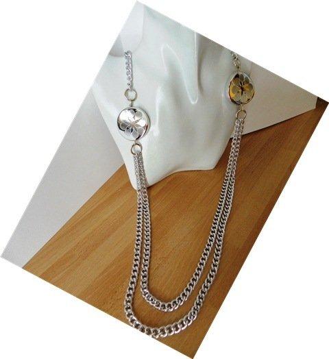 collana lunga doppia catena color argento