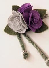 Spilla in panno - rose viola grigio