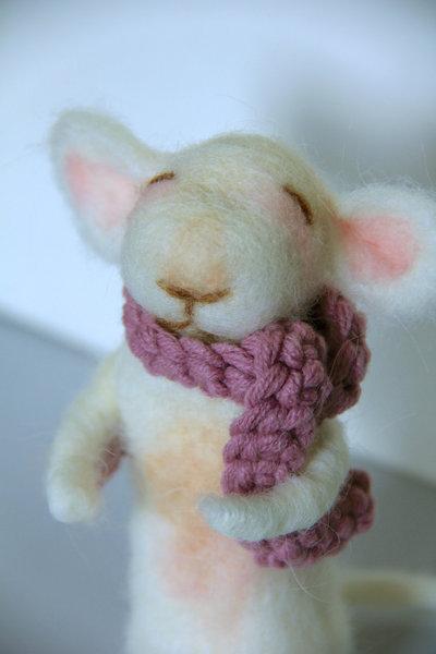 Topolino in lana cardata - fatto a mano