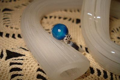 Anello in agata blu sfaccettata