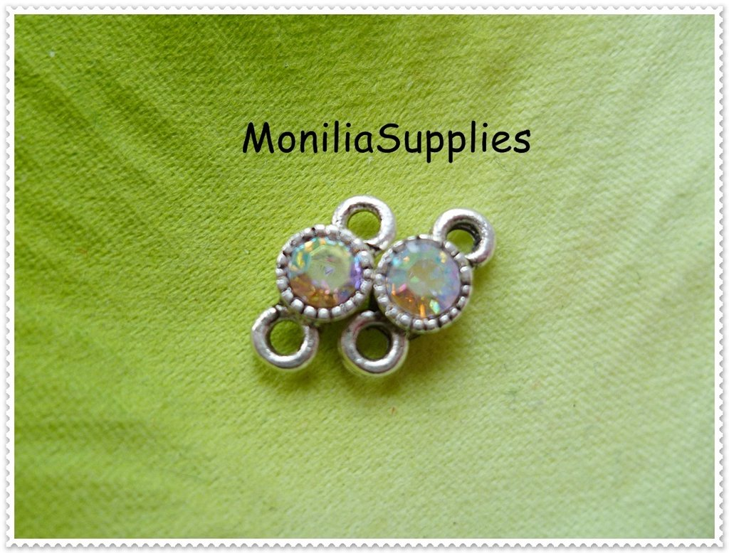 5 pz MINI CONNETTORI color ARGENTO ANTICO 10X5mm CON STRASS IN CRYSTAL AB