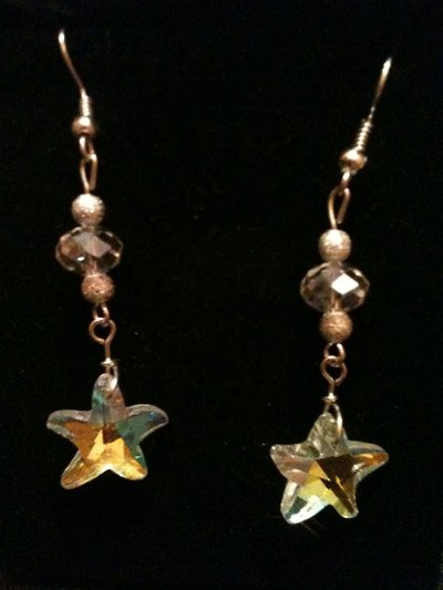 orecchini lunghi con stellina crystal