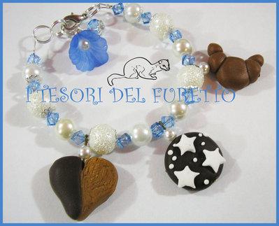 "Bracciale ""Pan di stelle Azzurro/Bianco"" fimo cernit kawaii"