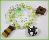 """Bracciale """"Biscottini con stelle  Verde/bianco"""" fimo cernit kawaii"""