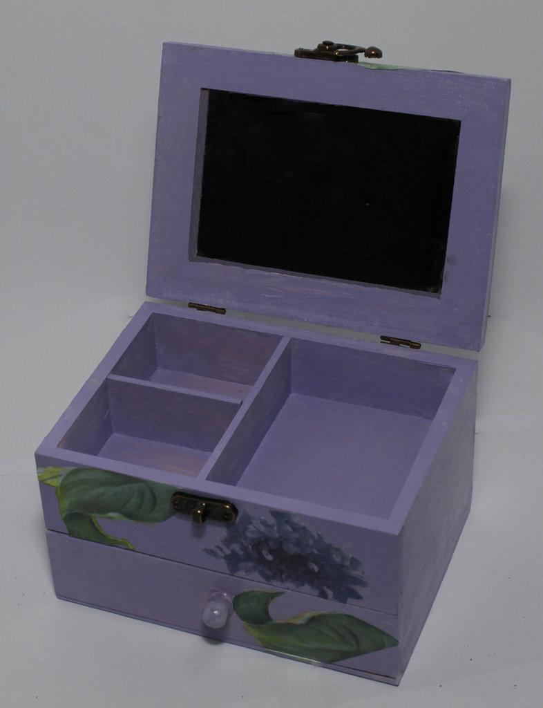 Portagioie con specchio e cassettino color lilla