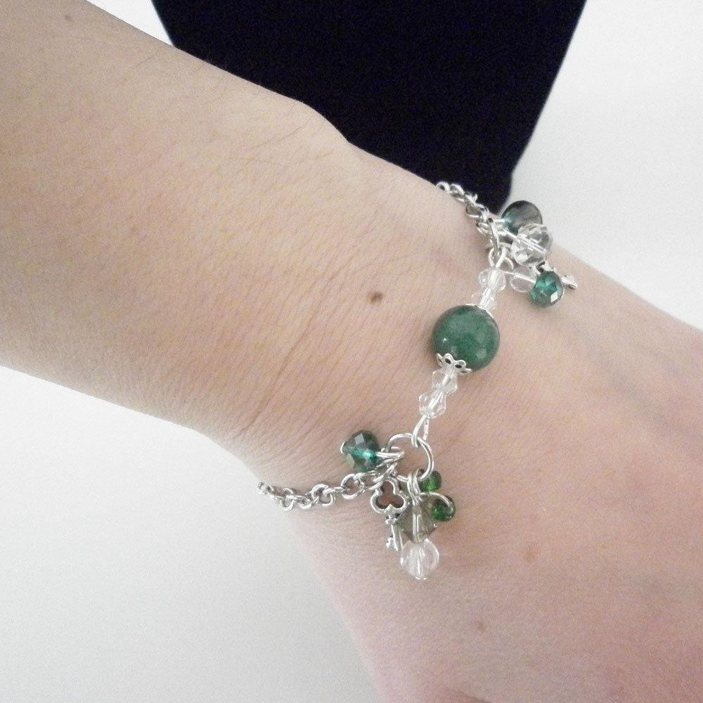 Bracciale catena con charms verde