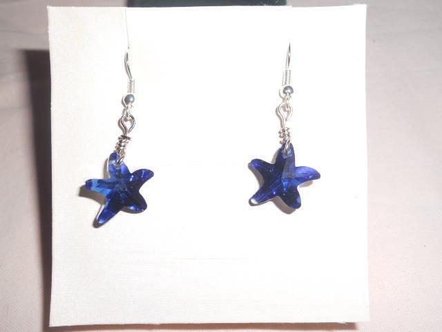 orecchini corti con stellina blu