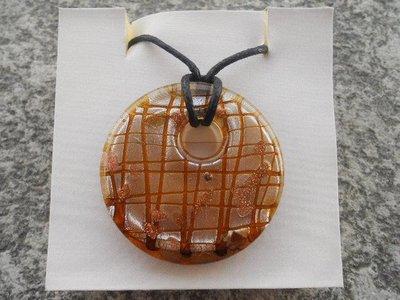 Collana con donut in murano marrone