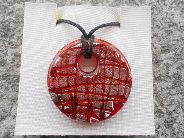 Collana con donut in murano rosso