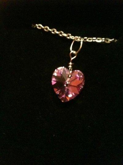 Collana con cuore lilla in swarovski