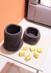 Cestino in lana e uncinetto - misura piccola