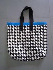 Borsa shopping tote bag pied de poule - pezzo unico