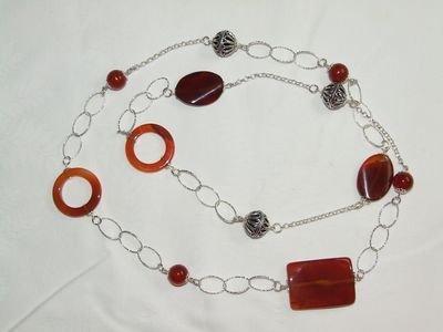 Collana in argento con pietre dure in corniola - cod. A8