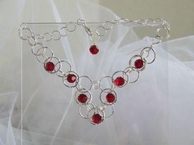 Collana in argento e cristalli Swarovski color rubino - cod. A13